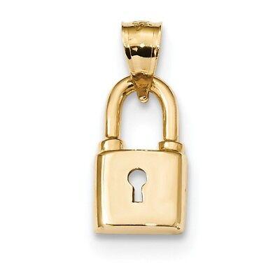 Gold Polished Lock Charm - 14K Yellow Gold Polished Lock Pendant / Charm