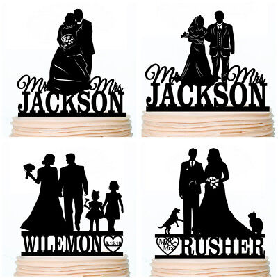 Personalised Family Wedding Cake Topper Bride and Groom with Kids Pet Dog Cat - Bride Dog