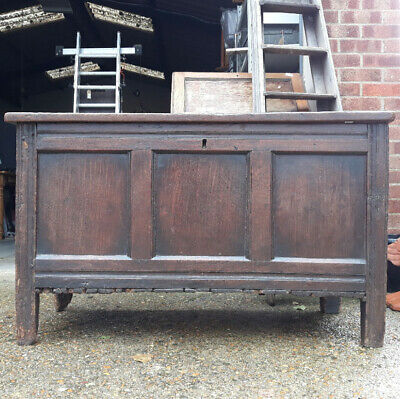 Antique 18th Century Panelled Oak Coffer Or Blanket Box Chest trunk