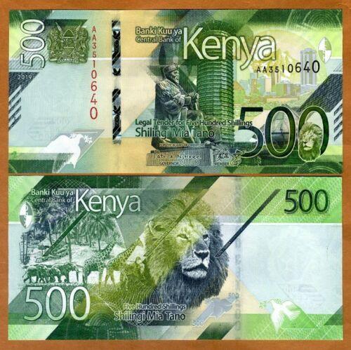 Kenya, 500 shillings, 2019, P-New, AA-Prefix, UNC > New Design, Lion