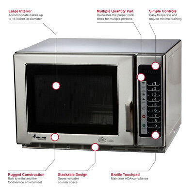 Commercial Amana Model Rfs12ts 1200 Watts Microwave Oven
