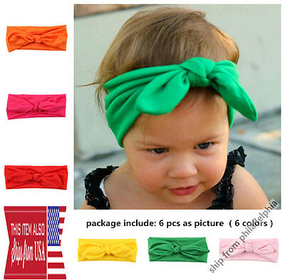 6Pcs Cute Kids Girls Baby Toddler Flower Bow Headband Hair Band Headband Elastic