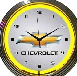 Chevrolet Gold Bowtie Yellow 15 Inch Neon Wall Clock Bar Game Room Office