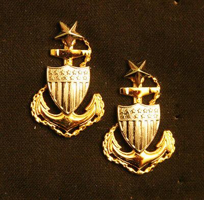 PAIR OF US COAST GUARD USCG SENIOR CHIEF PETTY OFFICER COLLAR INSIGNIA