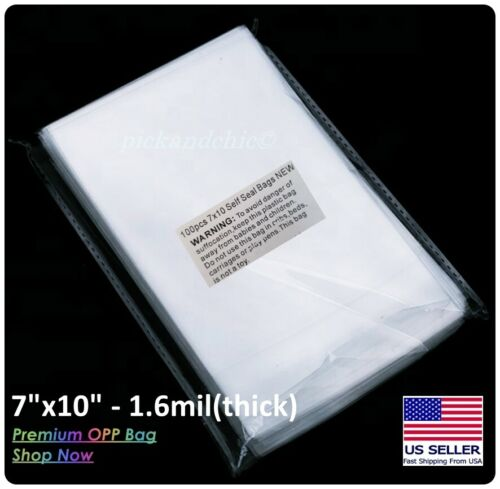 "[1000pcs] 7""x10"" Premium Clear Resealable Cellophane Cello Bag 1.6Mil OPP Bag"