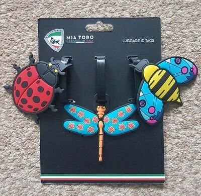 Mia Toro Luggage Tag Set of 3 Lady Bug Fly Bee Pop Bugs Rubber ID Tag New
