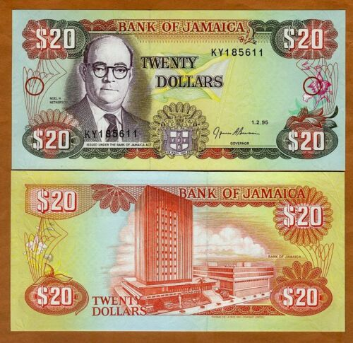 Jamaica, $20, 1995, P-72e, UNC > Colorful