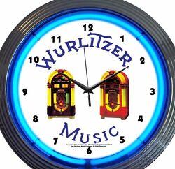 Wurlitzer Jukebox Music Neon Clock 15 Inch Diameter Blue White Game Room Bar