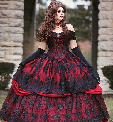 Gothic Red/Black Wedding Dresses Off Shoulder Applique Lace - Red Gothic Brautkleid