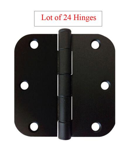 """24 Black 3.5"""" Interior Round Corner Door Hinges 5/8 Radius 3 1/2 inch"""