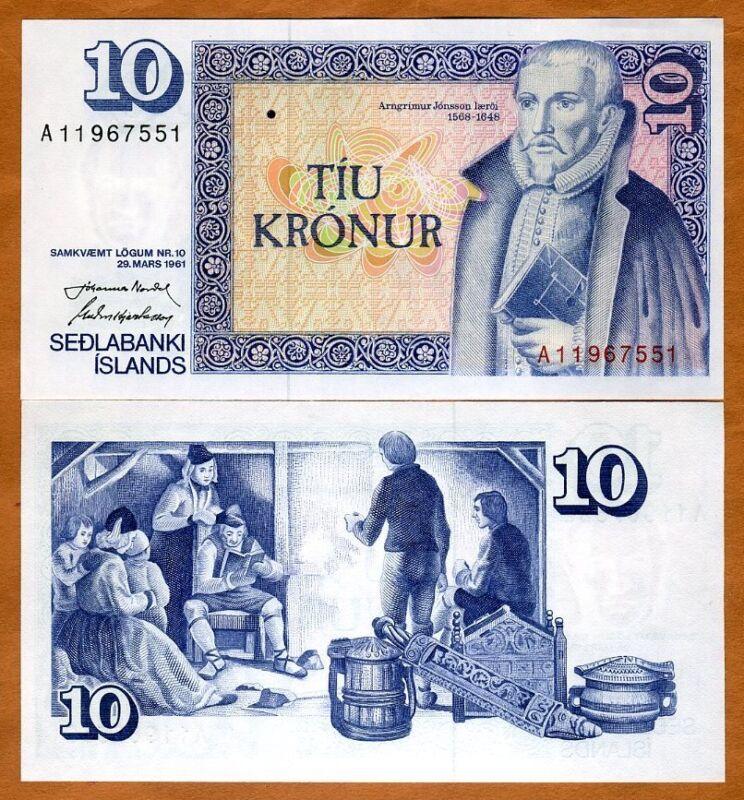 Iceland, 10 Kronur, Law 29 March 1961 (1981), P-48, UNC