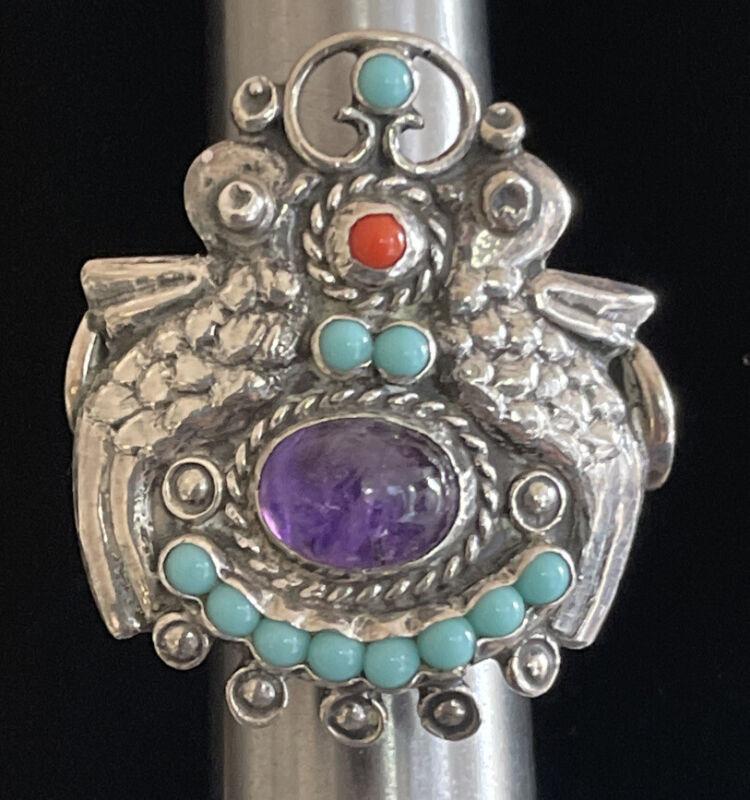 CEL Palomas Matilde Poulat Sterling Amethyst Turquoise Ring