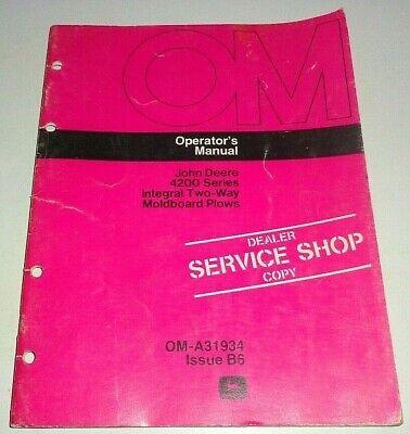 John Deere 4200 Series Integral Two-way Plow Operators Manual Original B6