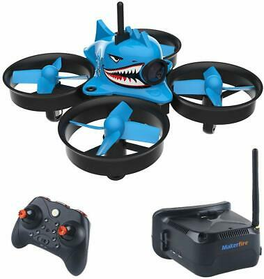 Micro FPV RC Drone Quadcopter HD Camera RTF Puny Whoop w/ FPV Goggles Blue Shark