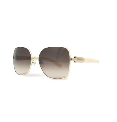 Salvatore Ferragamo Sunglasses SF150S 721 Light Gold-Ivory Rectangular