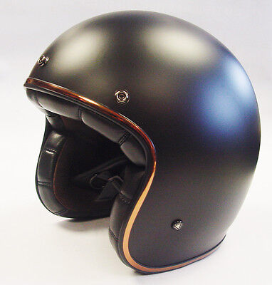 LS2 OF583 MATT BLACK OPEN FACE LOW PROFILE MOTORBIKE CUSTOM BOBBER HELMET