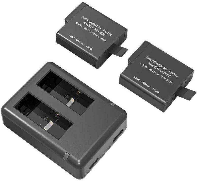 RAVPOWER 2 x GoPro Battery+Charger For HERO 5 HERO 6 HERO BLACK 5