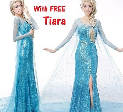 Frozen Elsa Adult Dress Fancy Dress Costume Party Blue Snow Queen wig RHINESTONE - Elsa Costumes Adults
