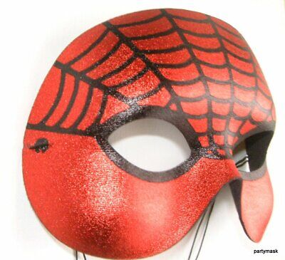 MASQUERADE CARNIVAL SUPER SPIDERMAN EYE MASK WITH BLACK SPIDER WEB DESIGN NEW