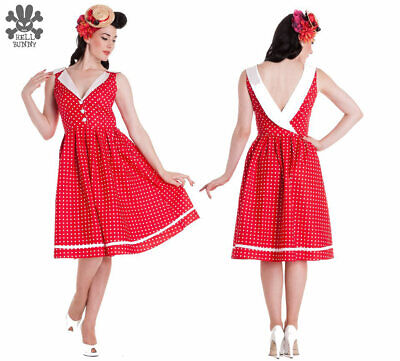 Hell Bunny Vixen Karen Red and White Spotted 50s style dress Size M