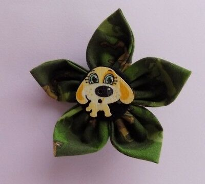 Dog Collar Fabric Flower - Camo and Scooby Doo - handmade - USA Seller](Scooby Doo Collar)