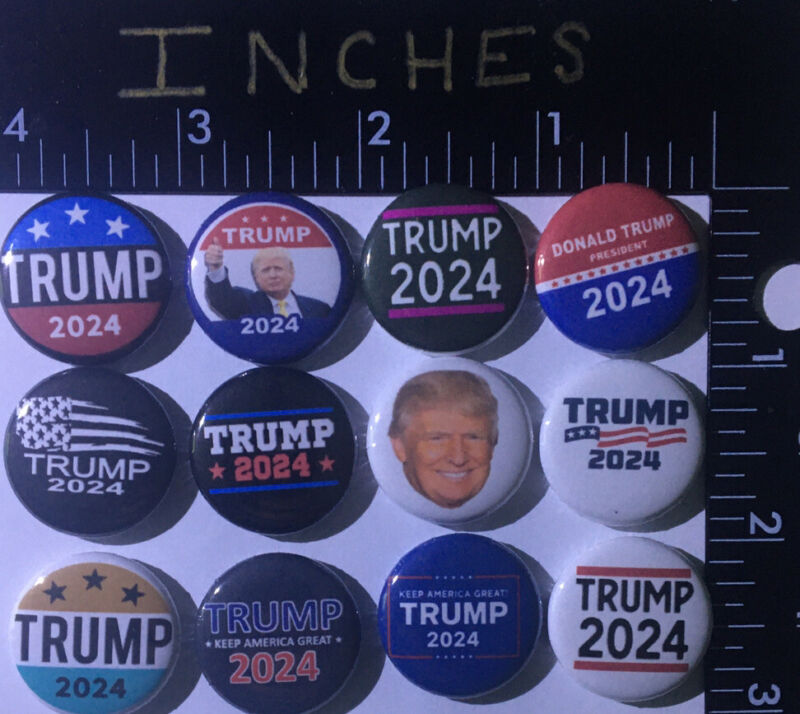 2024 Trump Campaign President Pins 12 Pin Lot New Button Pro Badge great 1 Inch