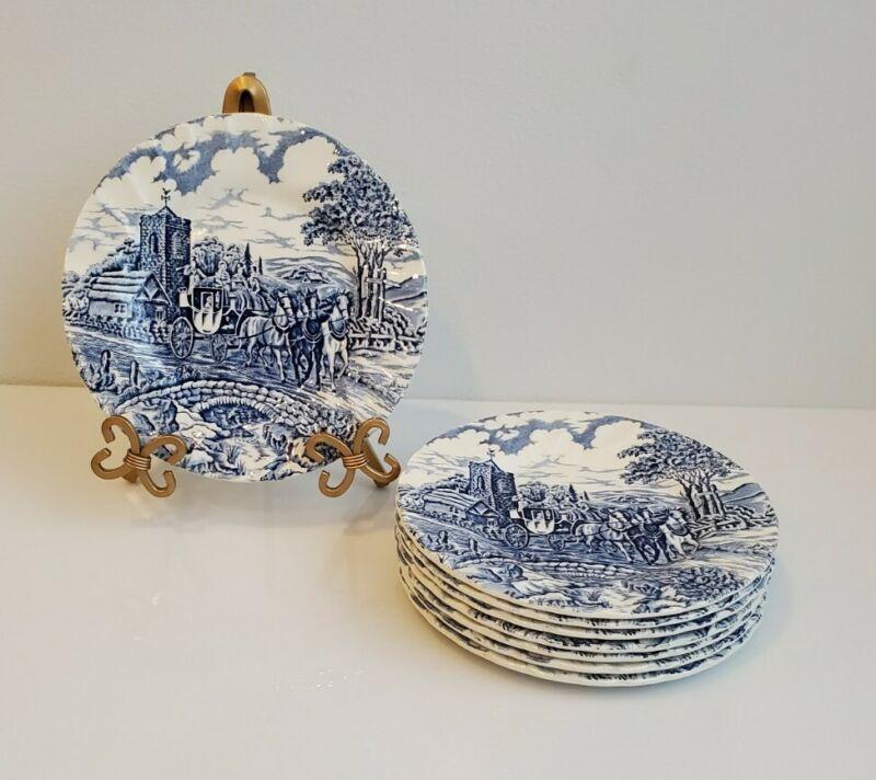"(8) MYOTT Royal Mail England Blue Fruit/Dessert/Bread Swirl Rim 6.75"" Plates"