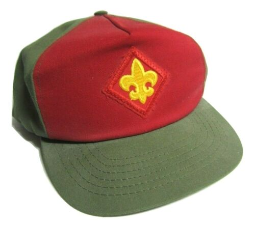 Vintage Boy Scouts Of America Baseball Snapback Hat Cap Patch Green Red NWOT