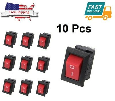 10pcs Mini Rocker Switch 2 Pin On-off Spst 125vac6a 250vac3a Red Kcd11