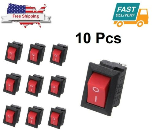 10PCS Mini Rocker Switch 2 Pin ON-OFF SPST 125VAC/6A 250VAC/3A Red KCD11