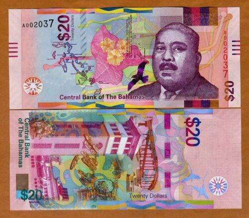 Bahamas, 20 dollars, 2018, P-New, UNC > redesigned, colorful