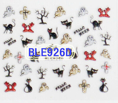 Halloween Tree Nails (Halloween Glitter Cats Ghost Cross Tree Branch Hands 3D Nail Art Sticker)