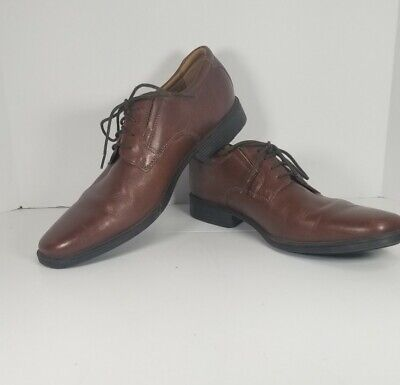 Men's Clarks Brown Leather Shoes Soft Cushion With Ortholite Size 9.5