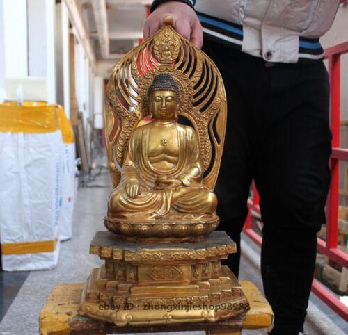 Tibet Bronze Gilt Sakyamuni Shakyamuni Buddha sit Vajrasana seat Statue