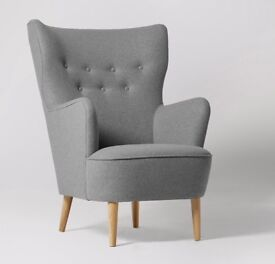 LUDWIG ARMCHAIR FROM SWOON BUTTONED BACK AND ELEGANT WINGBACK CONSTUCTION.