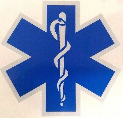 Blue Reflective Vinyl Star Of Life Car or Fire Helmet Decal EMS EMT 2 inch