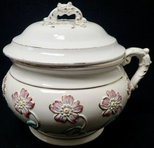 Antique Ornate Chamber Pot w/ Lid & Flower Decor unmarked