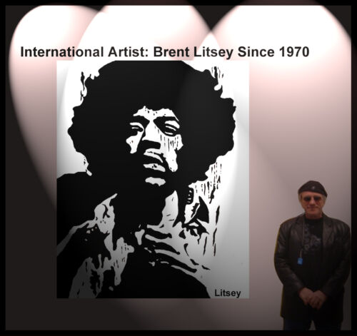 """ Jimi Hendrix "" by International Artist Brent Litsey I will review all offers"