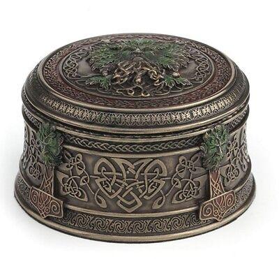 "3.75"" Acorn Tree Ent Round Trinket Box Mythical Tree Man Jewelry Box"