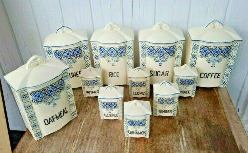 VTG Czech Canister Set 11 pcs Blue Spice Jar MINA Art Deco