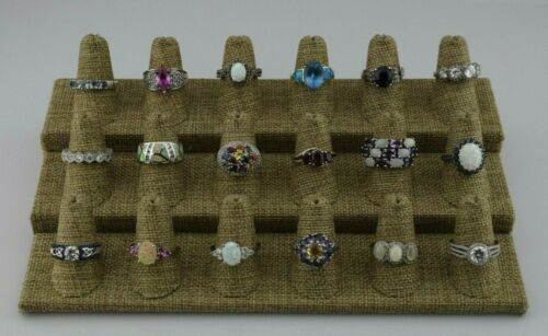 Lot of 18 Sterling Silver Multi Gemstone Statement Rings Bands Various Szs 6 7 8