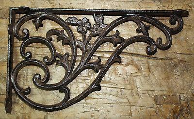 2 Cast Iron Antique Style HUGE DAISY VINE Brackets Garden Braces Shelf Bracket
