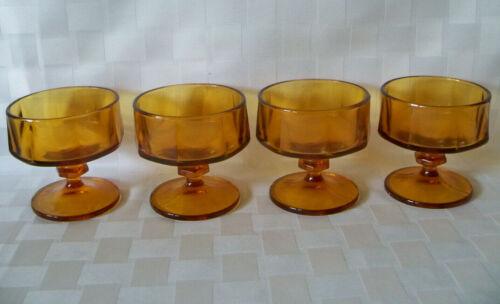 4 Set Vintage Mid Century AMBER Gold SHERBET NOUVEAU LINE COLONY INDIANA GLASS