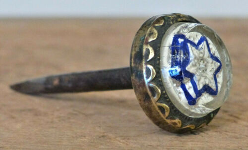 Old ANTIQUE Glass PICTURE NAIL Victorian Hanger Beaded Brass BLUE 6 Point Star