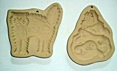 Vintage Brown Bag Cookie Art Mold 1998 &1994 SECONDS GHOSTS & HALLOWEEN CAT