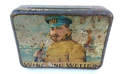 Alte Blechdose Tabakdose ~ Wind und Wetter - old tin