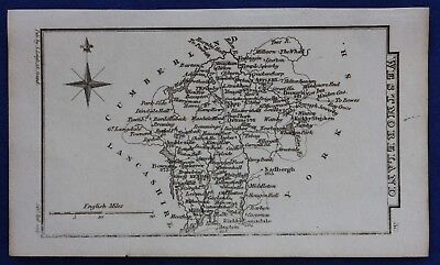 Original antique miniature county map WESTMORELAND, Samuel Leigh, 1820-31