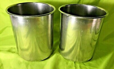 Bain Marie Pots Lot Of 2 Beaker Pots Stainless Steel 8.5 Diameter