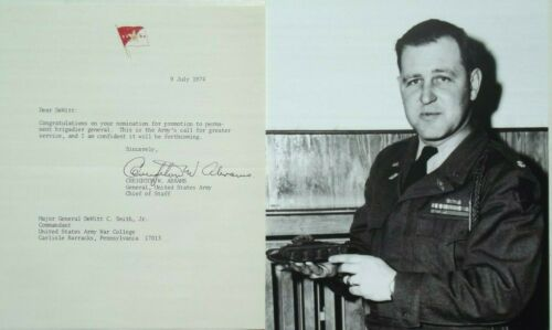 General Creghton Abrams World War II - Vietnam Commander Abrams Tank Autograph