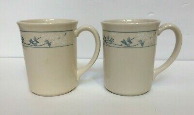 Corning Corningware Coffee Cups Mugs 10 oz Lot of 2 First of Spring Blue Flowers